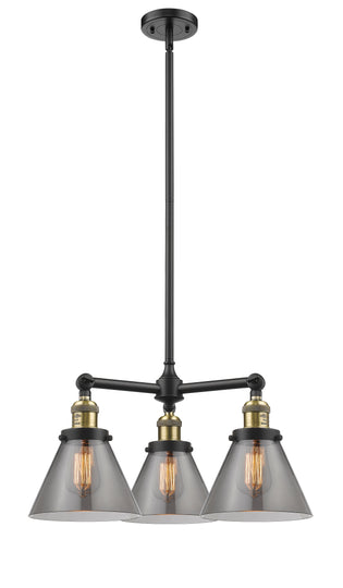 "22"" Three Light Large Cone Chandelier W/ Hang Straight Swivel - Dimmable"