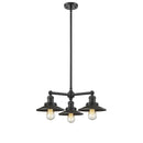 "Load image into Gallery viewer, 19"" Three Light Railroad Chandelier W/ Matte Black Shades & Hang Straight Swivel"
