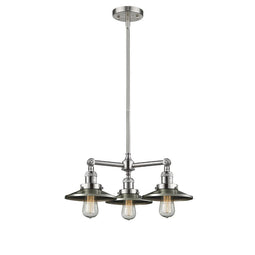Railroad 19-Inch  Chandelier with Matte Black Railroad shades and Hang Straight Swivel