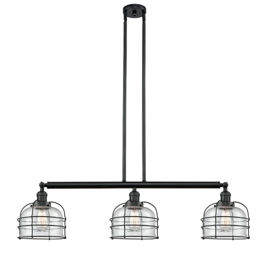 Large Bell Cage 41-Inch Black Adjustable Island Light and Hang Straight Swivels