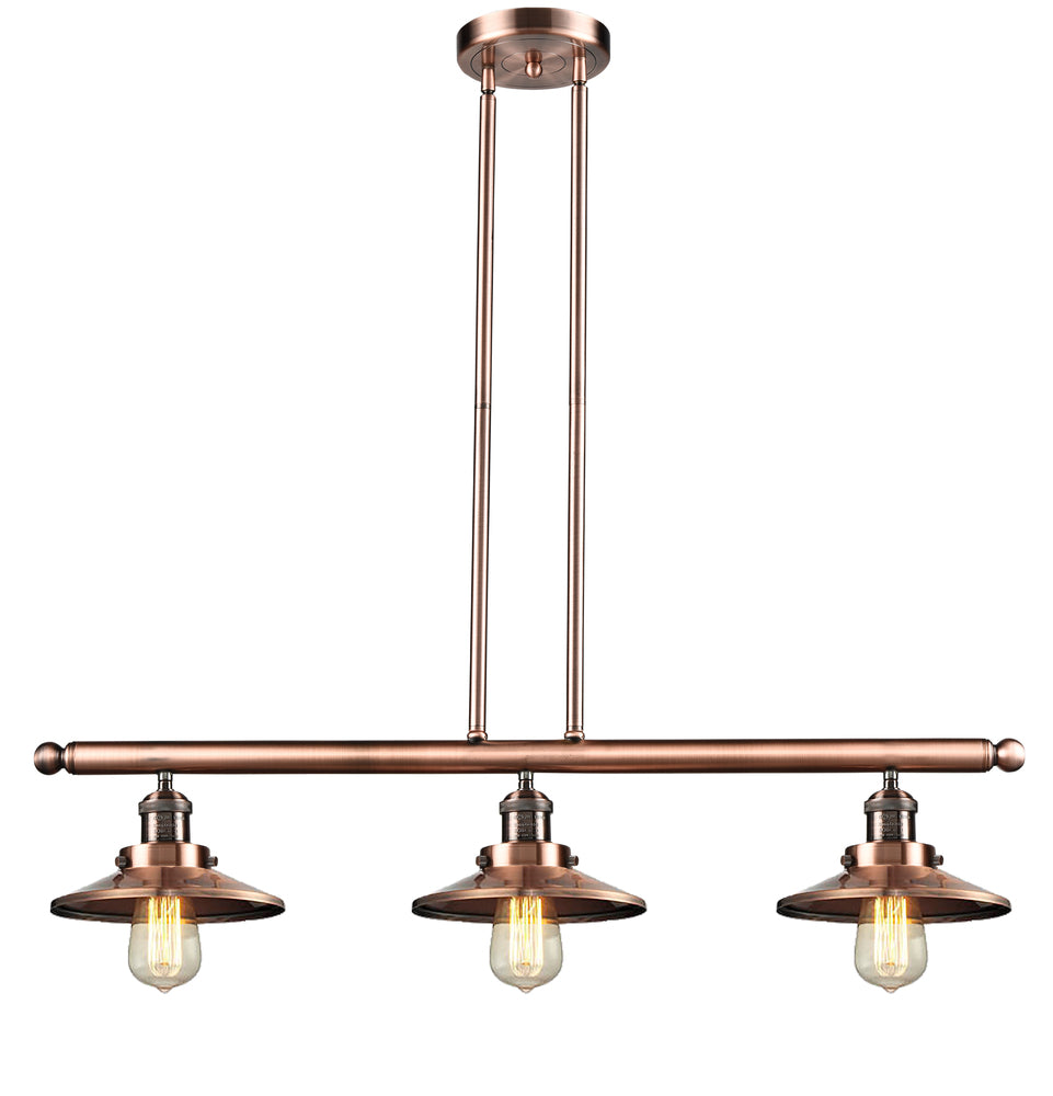 3-Light Satin Nickel Brushed Steel & Cast Brass Island Light - 100W, 120V - 40 Inch - A19 Bulb - Railroad Collection