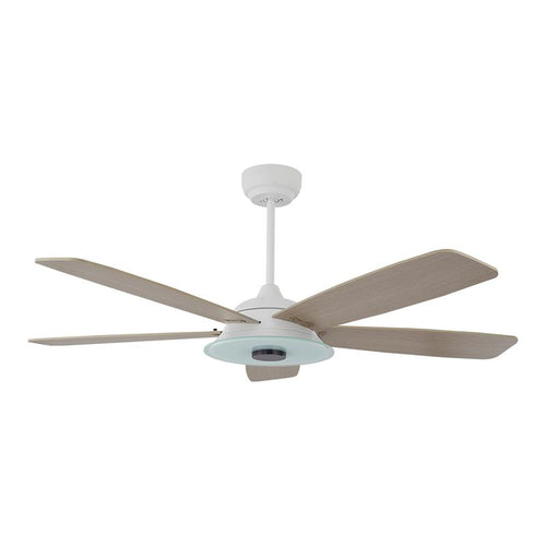 5 Blade Modern Wood Smart Ceiling Fan in White Finish