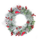 "Load image into Gallery viewer, 24"" Berries and Red Cardinals in Nests Flocked Artificial Christmas Wreath - Unlit,"