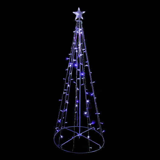 5' Blue & White LED Lighted Twinkling Show Cone Christmas Tree Outdoor Decoration