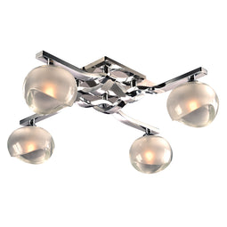 4 Light Wall Sconce Tidur Collection, Polished Chrome Dimmable Frost