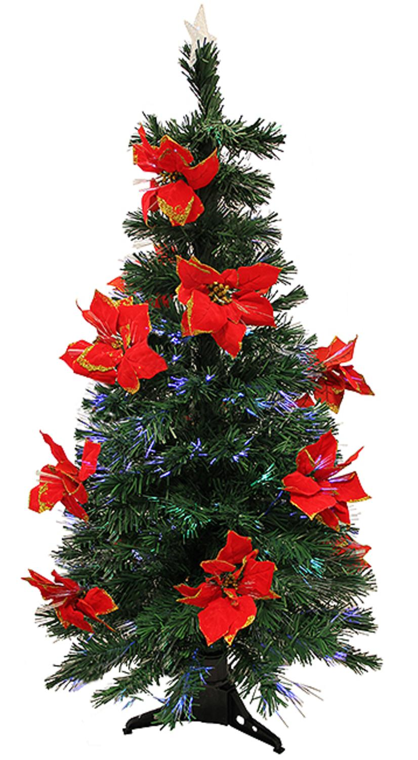 3' Pre-Lit Fiber Optic Artificial Christmas Tree with Red Poinsettias - Multi Dak Gd-47090