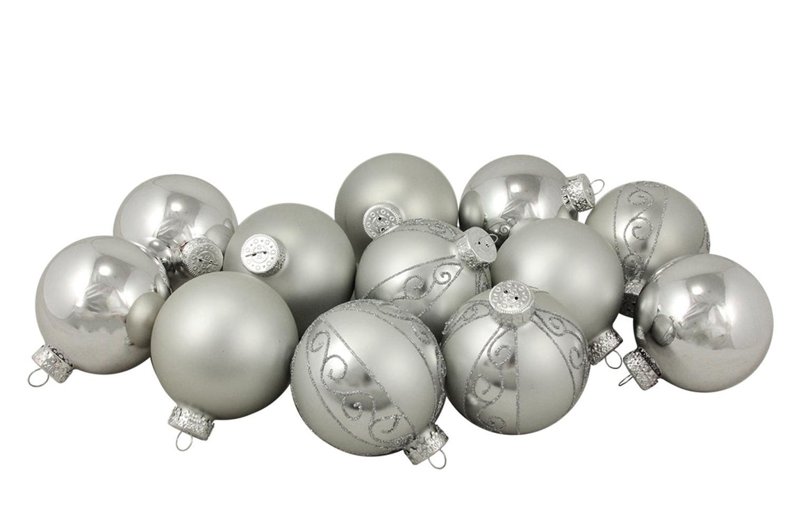 12Ct Matte And Shiny Silver Glass Ball Christmas Ornaments 2.5