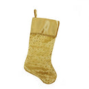 "Load image into Gallery viewer, 20.5"" Gold Glitter Star Print Christmas Stocking with Decorative Metallic Trim"
