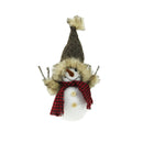 "Load image into Gallery viewer, 9"" Decorative Portly Snowman in Brown Faux Fur Trimmed Hat Christmas Tabletop Decoration"