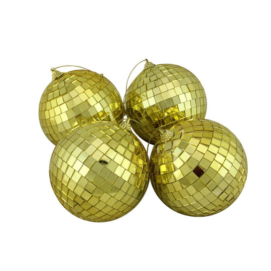 "4ct Gold Mirrored Glass Disco Ball Christmas Ornaments 4"" (100mm)"