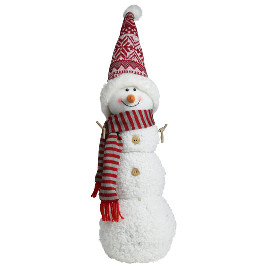 "21.5"" Snowman with Red and Gray Striped Scarf Christmas Tabletop Decoration"