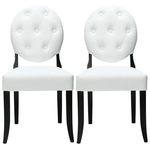 Button Tufted Vinyl Dining Chairs - 2- Set - Armless Dining Room Chairs