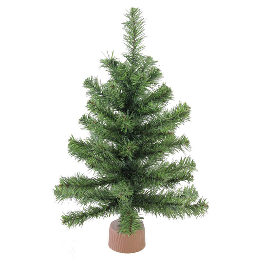 "18"" Mini Canadian Pine Artificial Christmas Tree in Faux Wood Base - Unlit"
