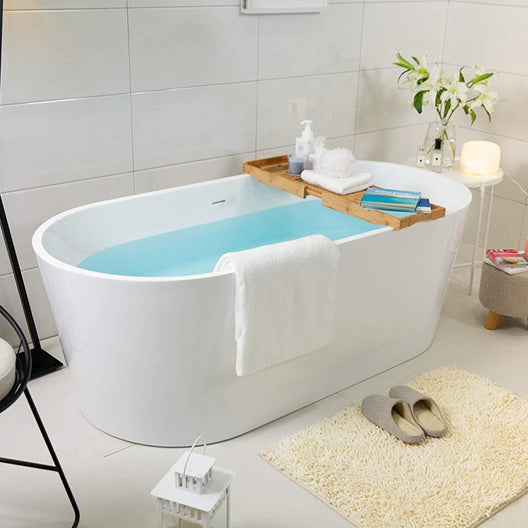 "59""L Luxury Soaking Spa Bath Tub W/Drain In Brushed Nickel, Classic Slotted Overflow Included Shower Bathtub"