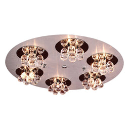 18 Light Ceiling Light Bolero Collection, Aluminum/Polished Chrome Dimmable  Asfour Handcut Crystal