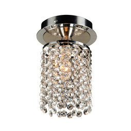PLC 1 Light Crystal Ceiling Light Rigga Collection 72191 PC Polished Chrome Dimmable