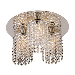 3 Light Crystal Ceiling Light Rigga Collection, Polished Chrome Dimmable