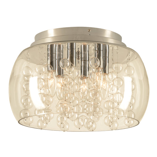 6 Light Ceiling Light Hydro Collection, Polished Chrome Dimmable Clear Glass