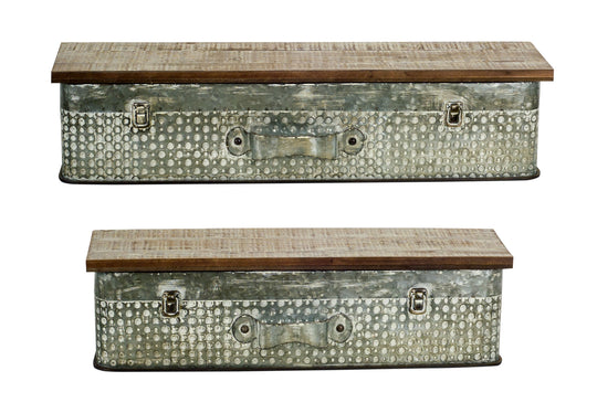 "Suitcase Wall Shelf (Set of 2) 24"" x 6.5""H, 28"" x 6.5""H Metal/Wood"