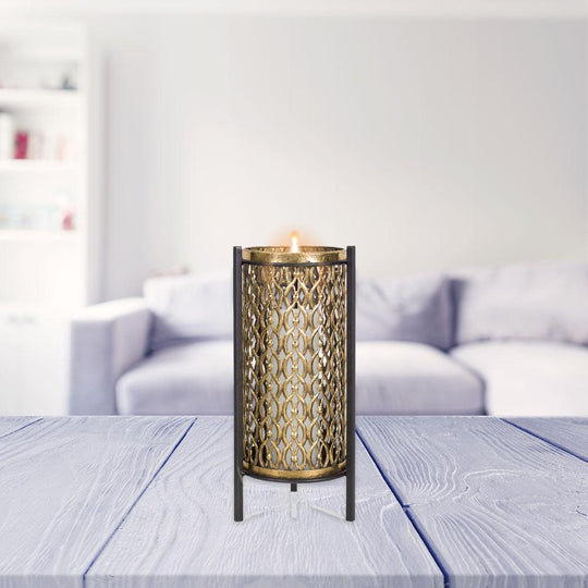 Candle Holder - Metal/Glass