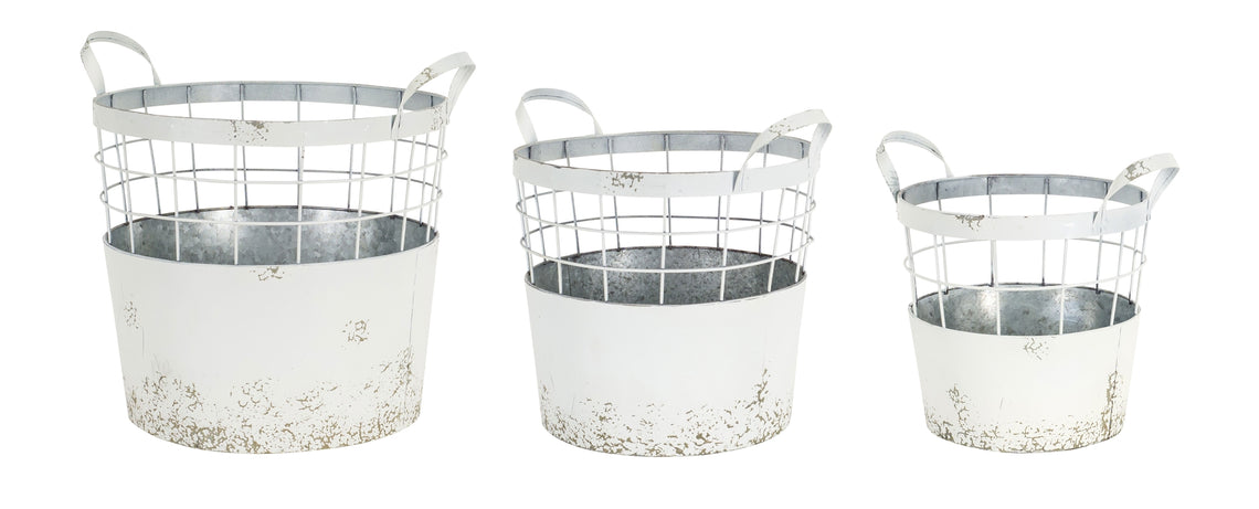 Metal Pail, 3 Sets - 11.5,13,15 Inches