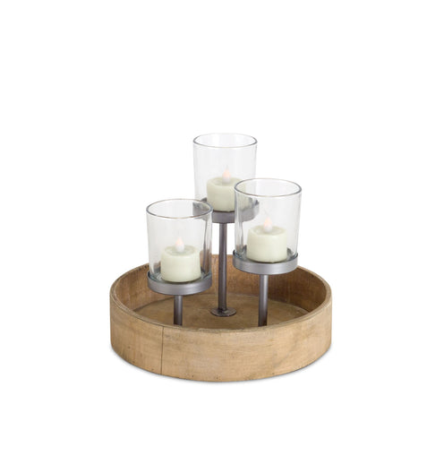 Votive Holder - Wood/Metal/Glass - 8.25