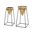 Load image into Gallery viewer, Perfect Set of 2 Wood Planter in Metal Stand- 28.25 & 32.75 Inch