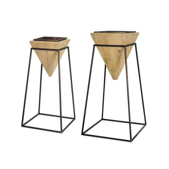 Perfect Set of 2 Wood Planter in Metal Stand- 28.25 & 32.75 Inch