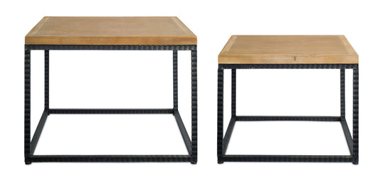 "Table (Set of 2) 20"" x 16""H, 24"" x 18""H Metal/Wood"