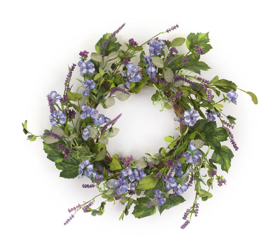 "Floral and Lavender Wreath 24.5""D Polyester"