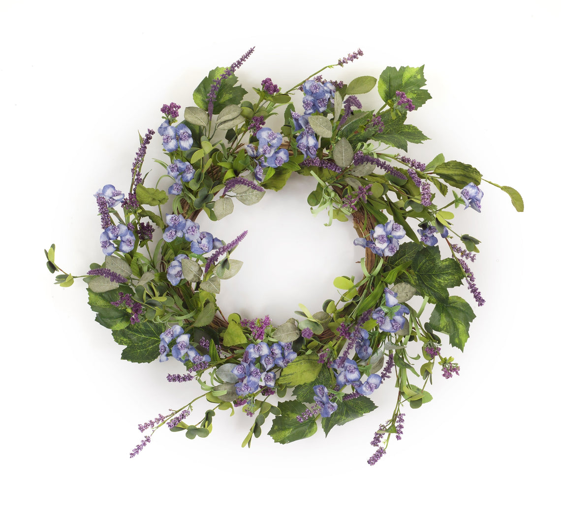 Floral and Lavender Wreath 24.5