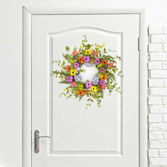 "Mixed Floral Wreath 24""D Polyester"