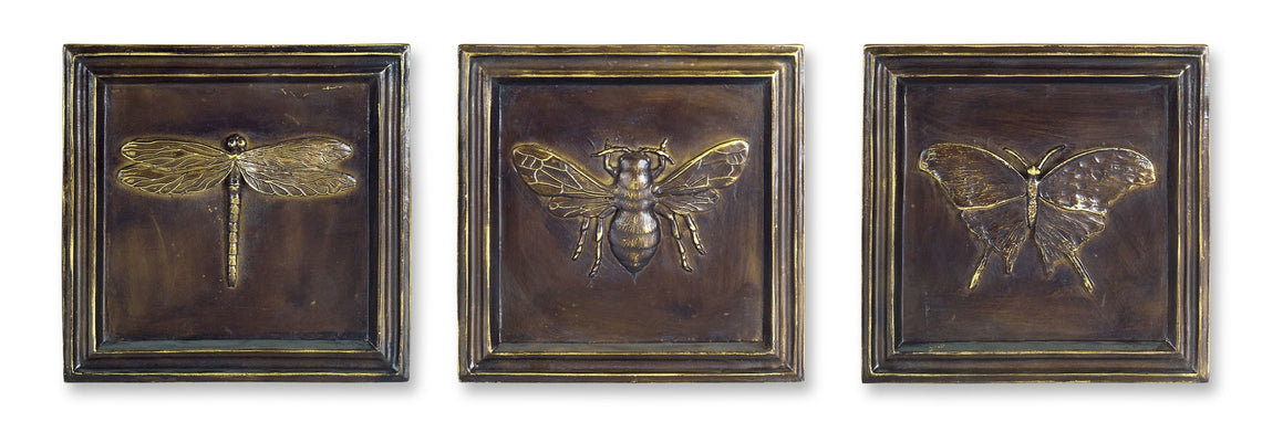 Insect Plaque (Set of 3) 6.75