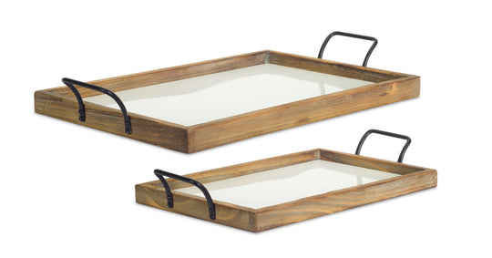 "Tray (Set of 2) 19.25""L, 24.75""L Iron/Wood"