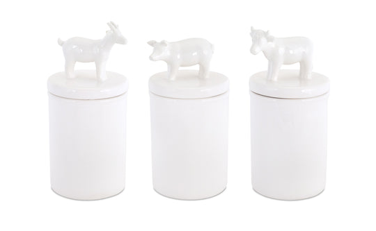 "Farm Animal Canisters (Set of 3) 3.75"" x 8.5""H Clay"