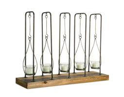 19.75 x15.25H - Votive candle Holder - Wood/Metal/Glass