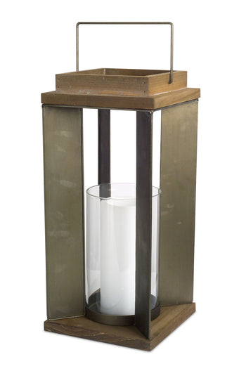 Candle Holder - Wood/Metal/Glass