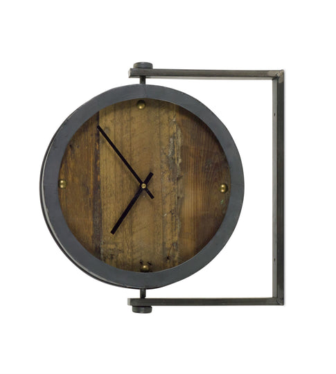 "Clock 15.5""H Metal/Glass"