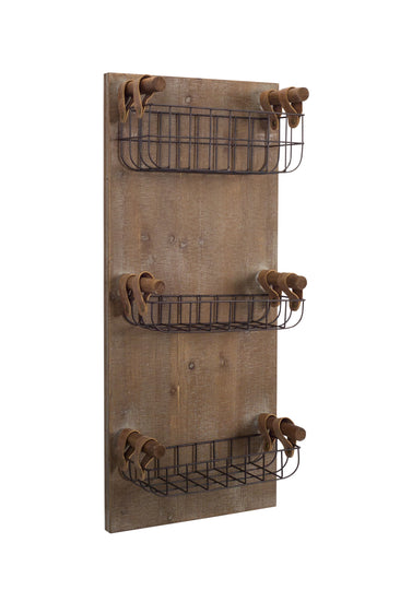 "Wall Shelf with 3 Baskets 13.5"" x 31.75""H Wood/Wire"