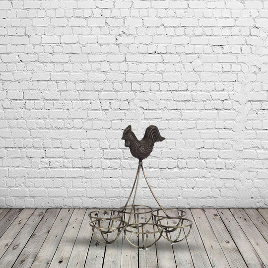"Rooster/Egg Holder (Set of 4) 6.25""H Iron"