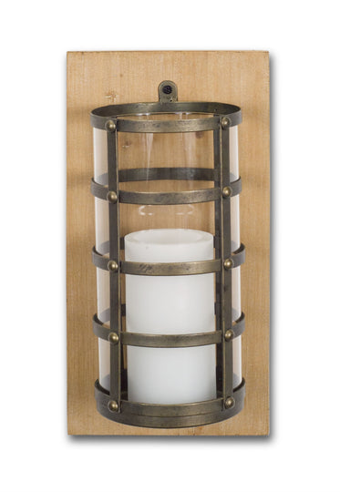 "7""x14"" H Wall Candle Holder - Wood/Metal/Glass"