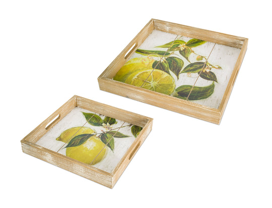 "Lemon Print Tray (Set of 2) 13.5""L, 15.75""L Wood/MDF"