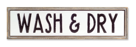 "WASH & DRY Sign 36.75"" x 10""H Tin"