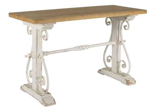 "Table 47.5"" x 29""H Wood/Iron In White & Brown"