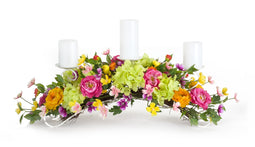 34x10.75 inch H Mixed Floral Centerpiece - Polyester & Meta
