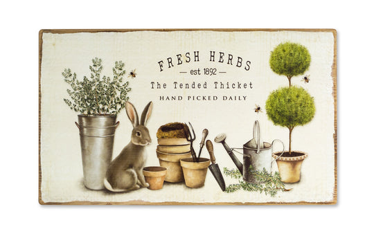 "Rabbit and Herb Plaque 24"" x 14""H MDF"