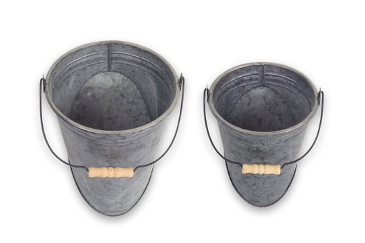 Metal Wall Pail with Handle 4 set - 7.5 x 9.75, 9 x 12 Inches