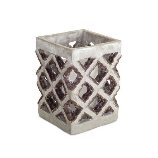 "6.5""H Candle Holder - Cement - Set of 2"