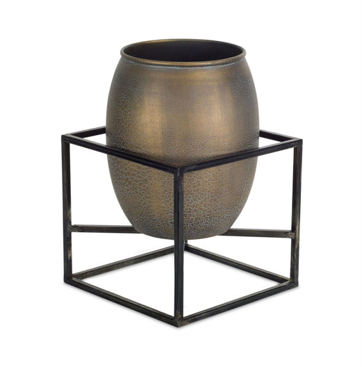 Pots With Metal Plant Stand- 2 set
