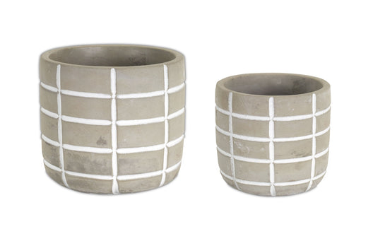 Cement Pot 8 set - 6.5 x 6.5 x 5 Inches